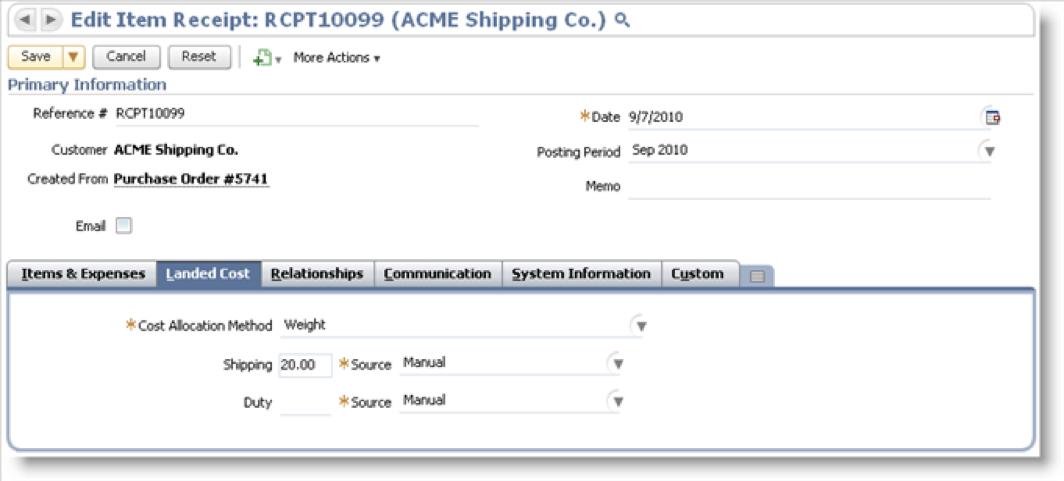 Oracle NetSuite成本包括卸货和海关:取消费用的例子